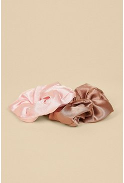 Multi Pink And Mink 2 Pack Scrunchie Set