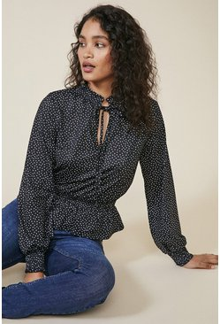 Black Spot Tie Neck Shirred Waist Top