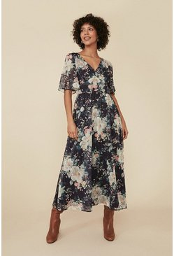 Navy Floral Print Chiffon Dress