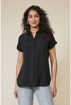 Black Short Roll Sleeve Shirt