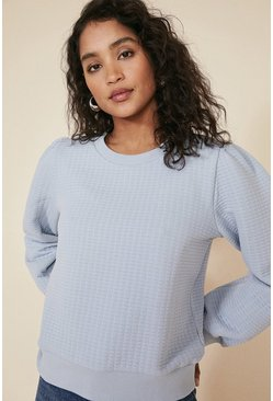 Light blue Quilted Sweatshirt