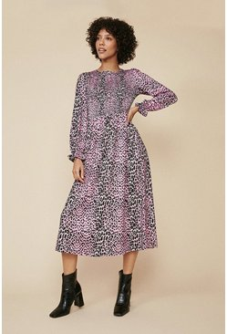Multi Colourful Animal Shirred Midi Dress