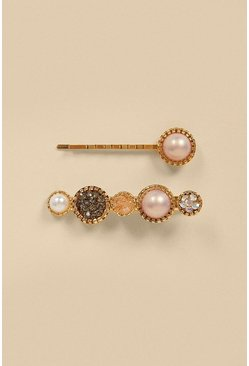 Gold Pearly Sparkle 2 Pack Hair Clips