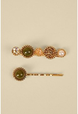 Khaki Pearly Sparkle 2 Pack Hair Clips