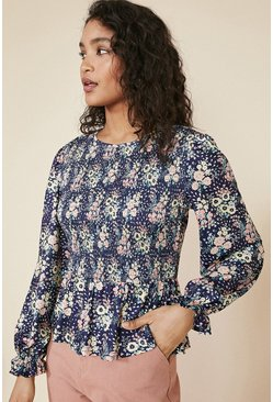 Navy Floral Shirred Bodice Top
