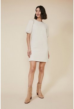 Ecru Quilted Sweat Dress