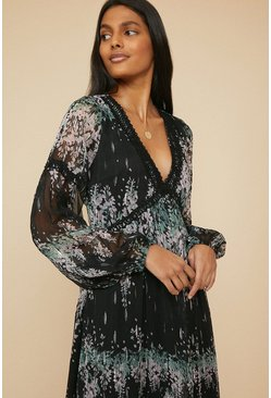 Black Floral Print Trimmed Midi Dress