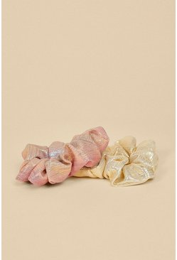 Gold Shimmer Scrunchie 2 Pack Set