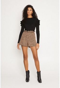 Black Animal Jacquard Paperbag Short