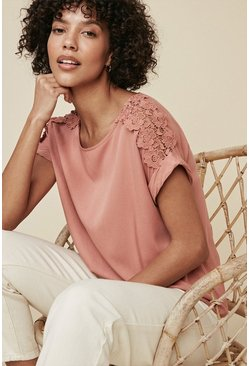 Blush Lace Trim T Shirt