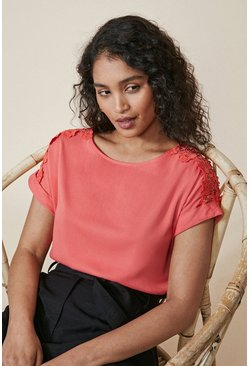 Coral pink Lace Trim T Shirt