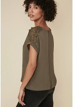 Khaki Lace Trim T Shirt