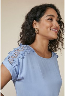 Pale blue Lace Trim T Shirt