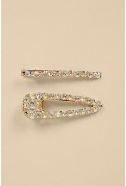 Diamante Sparkle 2 Pack Gold Hair Clips