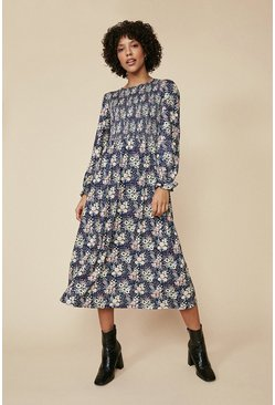 Navy Floral Shirred Bodice Midi Dress