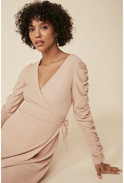 Camel Rib Ruched Sleeve Wrap Midi Dress