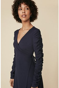 Navy Rib Ruched Sleeve Wrap Midi Dress