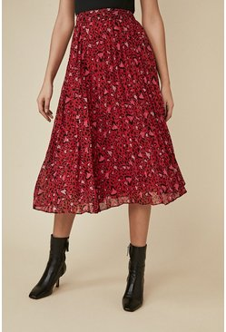 Red Animal Heart Pleated Chiffon Skirt