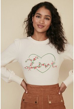 Ecru Love Embroidered Jumper