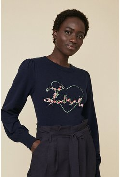 Navy Love Embroidered Jumper