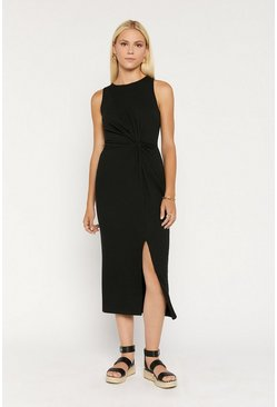 Black Rib Twist And Drape Midi Dress