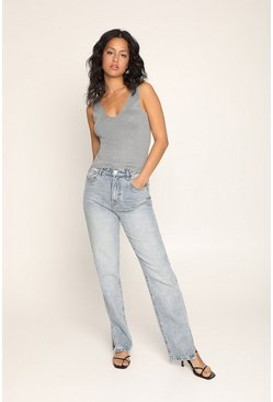 Mid wash Split Hem Slim Leg Jean