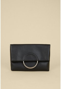 Black Ring Detail Cross Body Bag