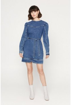 Mid wash Puff Sleeve Denim Dress