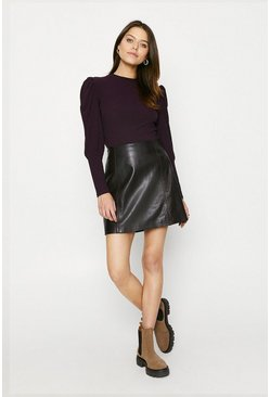 Plum Extreme Sleeve Rib Top