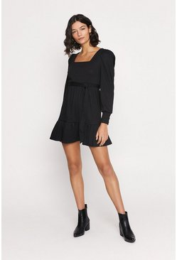 Black Rib Square Neck Puff Sleeve Skater Dress