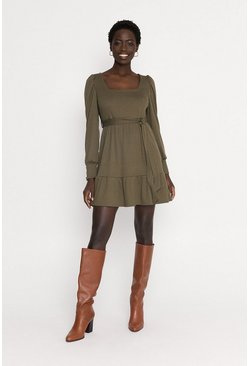 Green Rib Square Neck Puff Sleeve Skater Dress