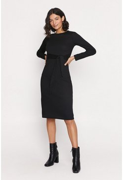 Black Rib Tie Front Midi Dress