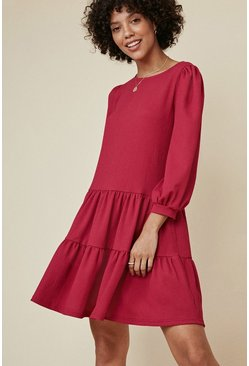 Berry Textured Tiered Smock Dress