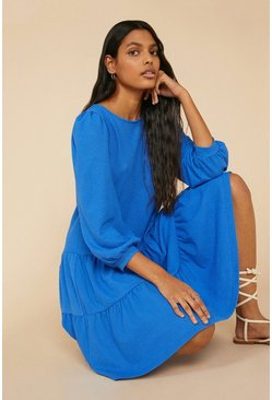 Blue Textured Tiered Smock Dress