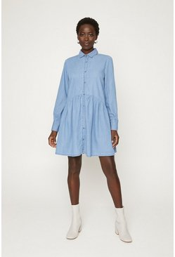 Blue Button Denim Dress