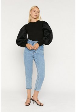 Black Extreme Poplin Sleeve Top
