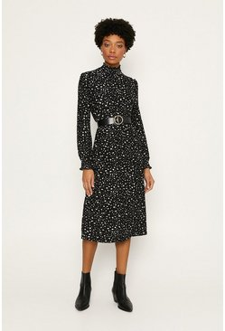 Black Shirred Ditsy Midi Dress