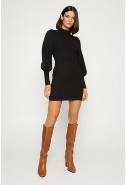Black Extreme Sleeve High Neck Tube Dress