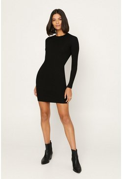 Black Long Sleeve Tube Dress