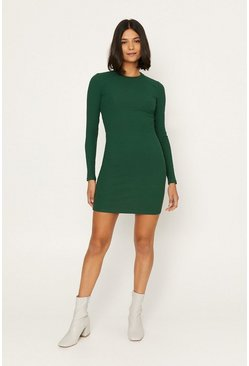 Dark green Long Sleeve Tube Dress