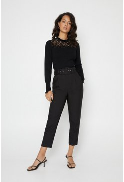 Black Belted Pin Tucked Front Trouser