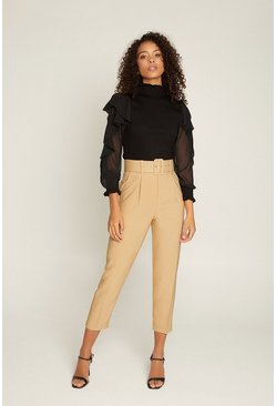 Camel Belted Pin Tucked Front Trouser