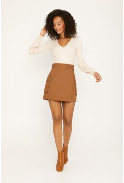 Brown Tailored Wrap Mini Skirt