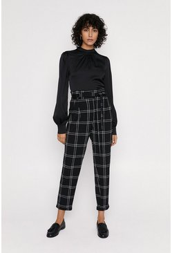 Black Scuba Crepe Check Tie Waist Trousers