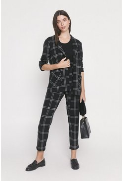 Black Scuba Crepe Check Jacket