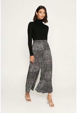 Black Leopard Wide Leg Trouser
