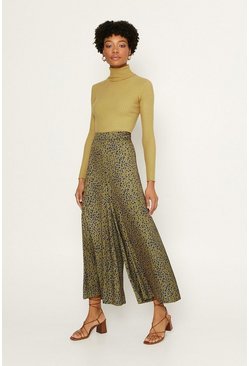 Green Leopard Wide Leg Trouser