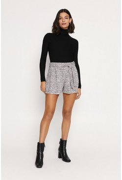 Black Tweed Effect Belted Short