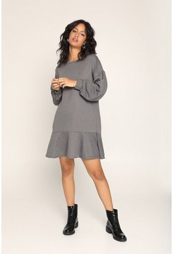 Grey Frill Hem Drop Sleeve Sweat Dress