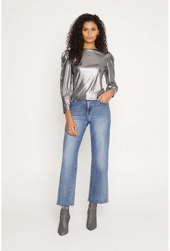 Silver Extreme Metallic Puff Sleeve Top